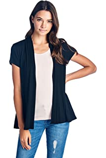 3d1df5c95 Open Front Short Sleeve Soft Bamboo Cardigan Sweater for Women -Made in USA