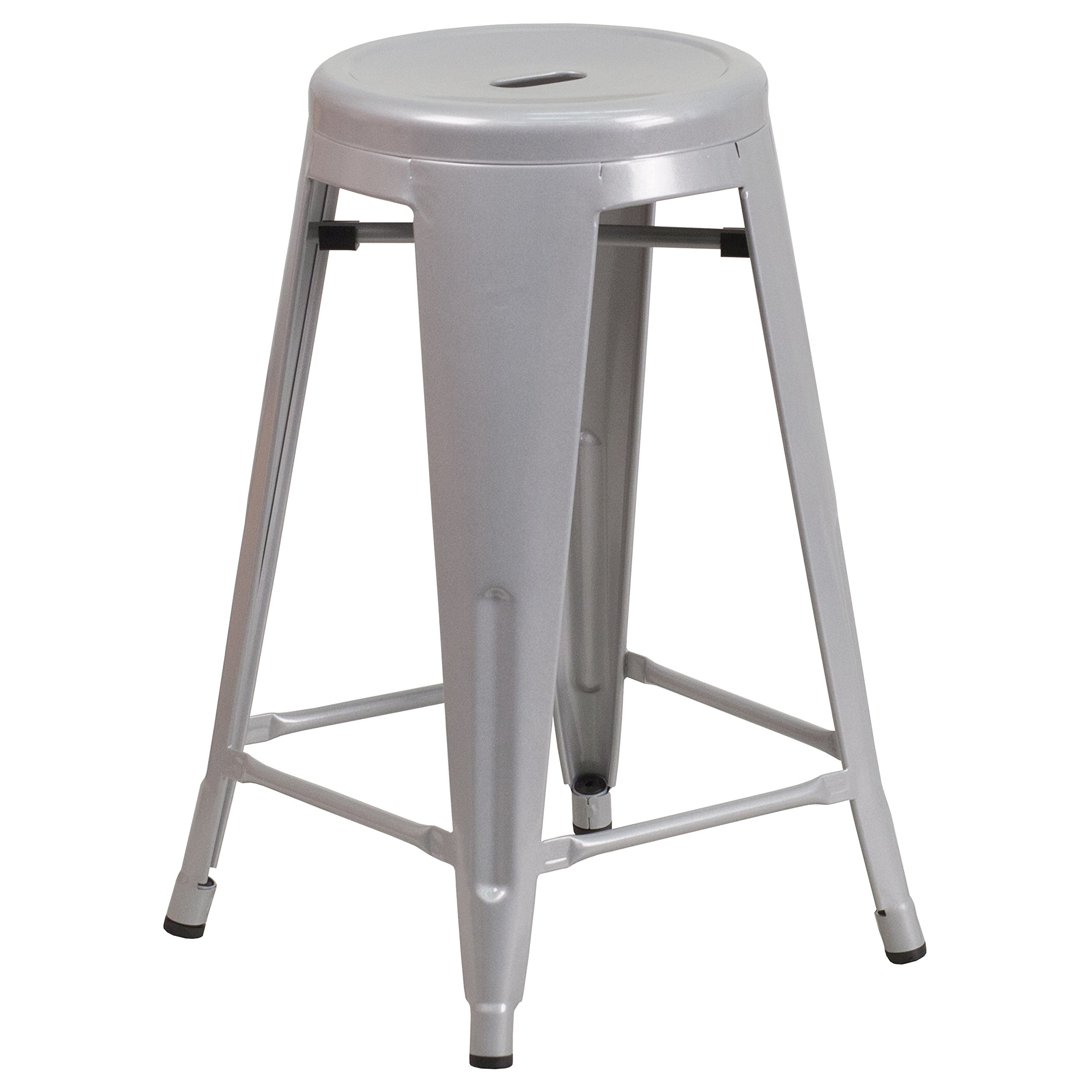 Flash Furniture 24'' High Backless Silver Metal Indoor-Outdoor Counter Height Stool with Round Seat