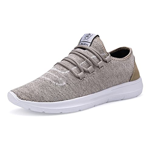 ZBXXMQZZ Men's Running Shoes Lightweight Breathable Mesh Casual Shoes Fashion Sneakers Walking Shoes Khakigray 44