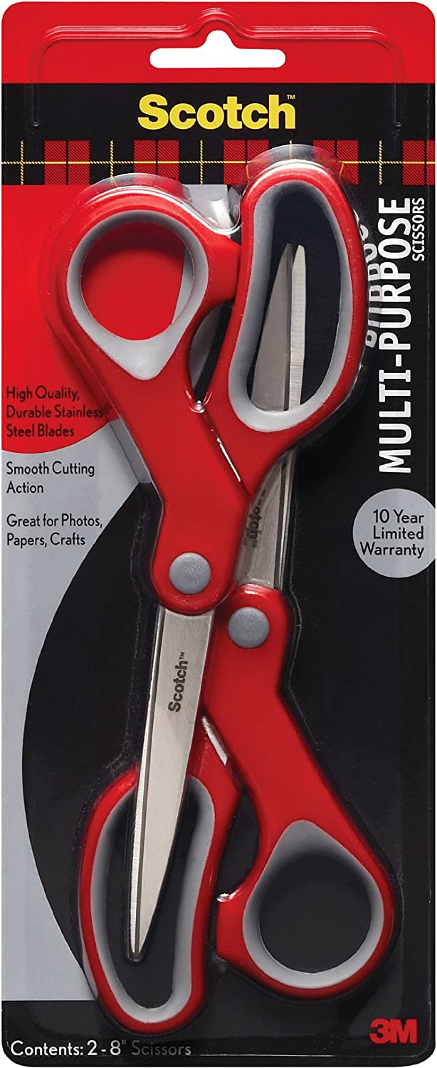 Scotch Multi-Purpose Scissor, 8 Inch, 2 Pack (1428-2), Red/Gray