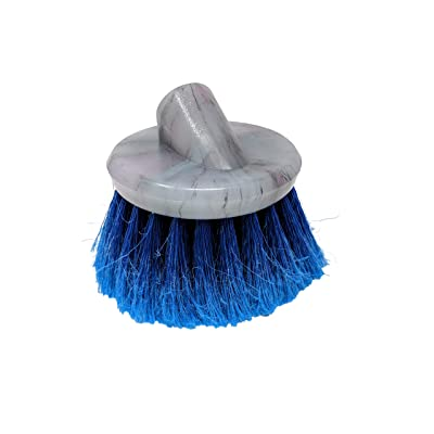 Teravan Blue Round Medium Firm Soft Flow-Thru Brush for Wheel and Utility Cleaning (4 Inch - Regular Trim): Automotive