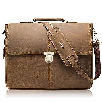 Vintage Leder Aktentasche Arbeitstasche Schultertasche UNI BAG Messenger Neu