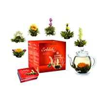 Creano Teeblumen Mix - Geschenkset ErblühTee Frühjahrslese mit Glaskanne Weißtee (in 6 Sorten)
