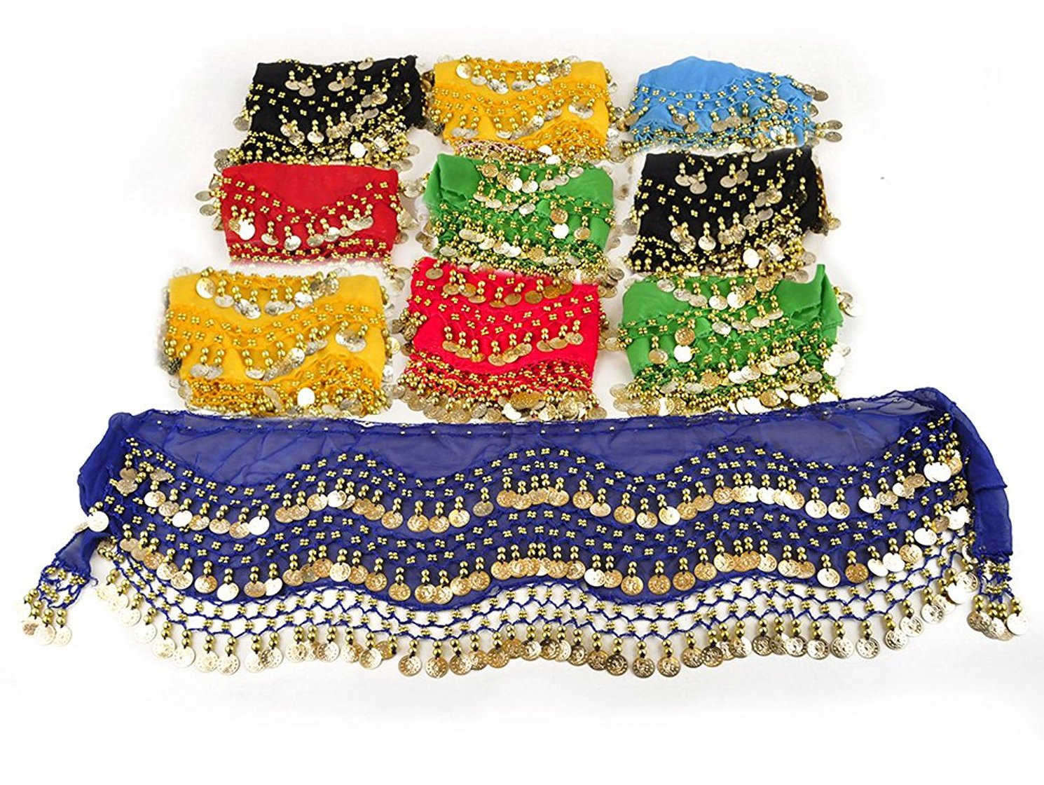 REINDEAR Wholesale Belly Dance Dangling Gold Coins Belly Dance Hip Scarf (48 Pcs)