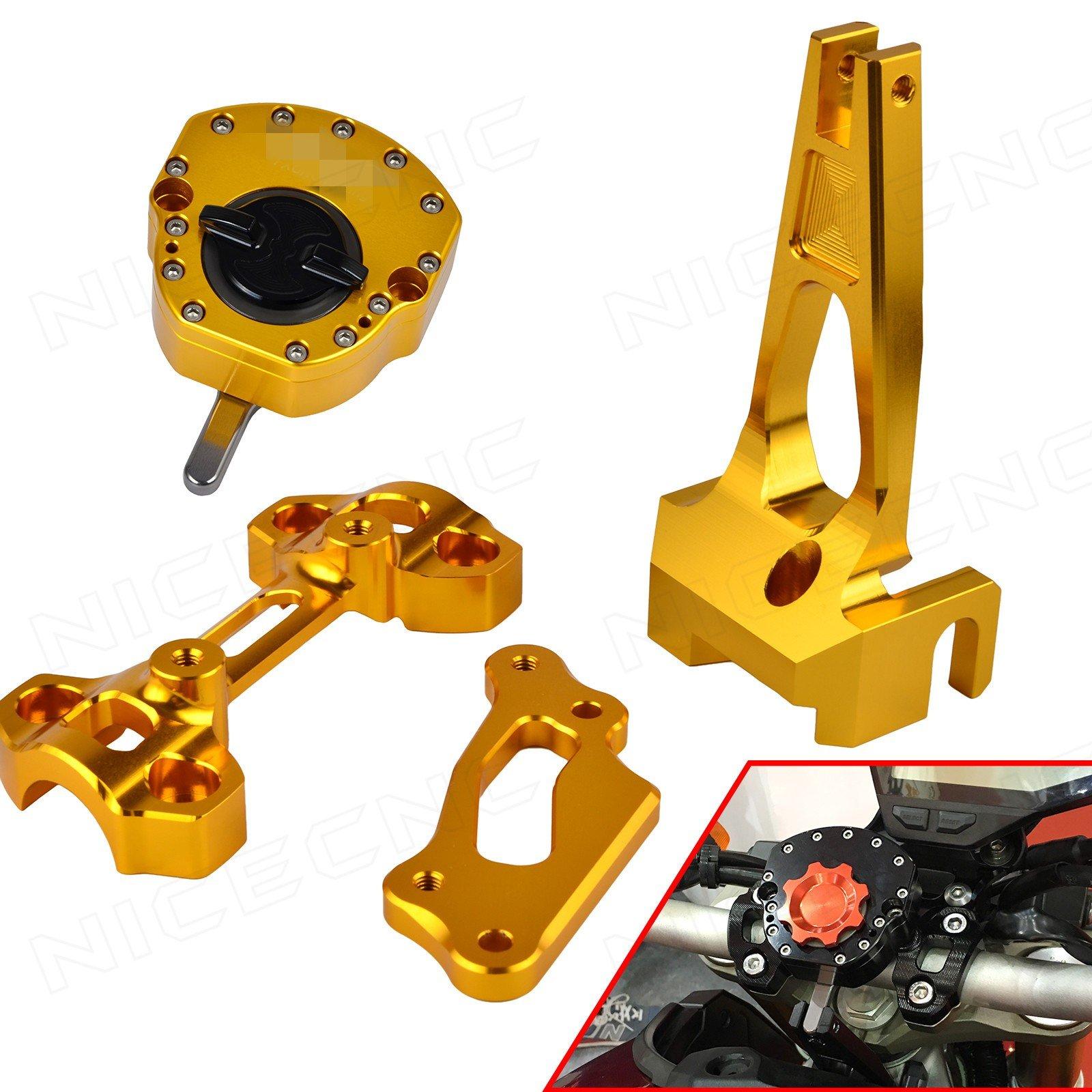 NICECNC Gold Steering Stabilizer Damper & Mounting Bracket Set for MT09/MT-09 Street Rally FZ09 FZ-09 2014 2015 2016