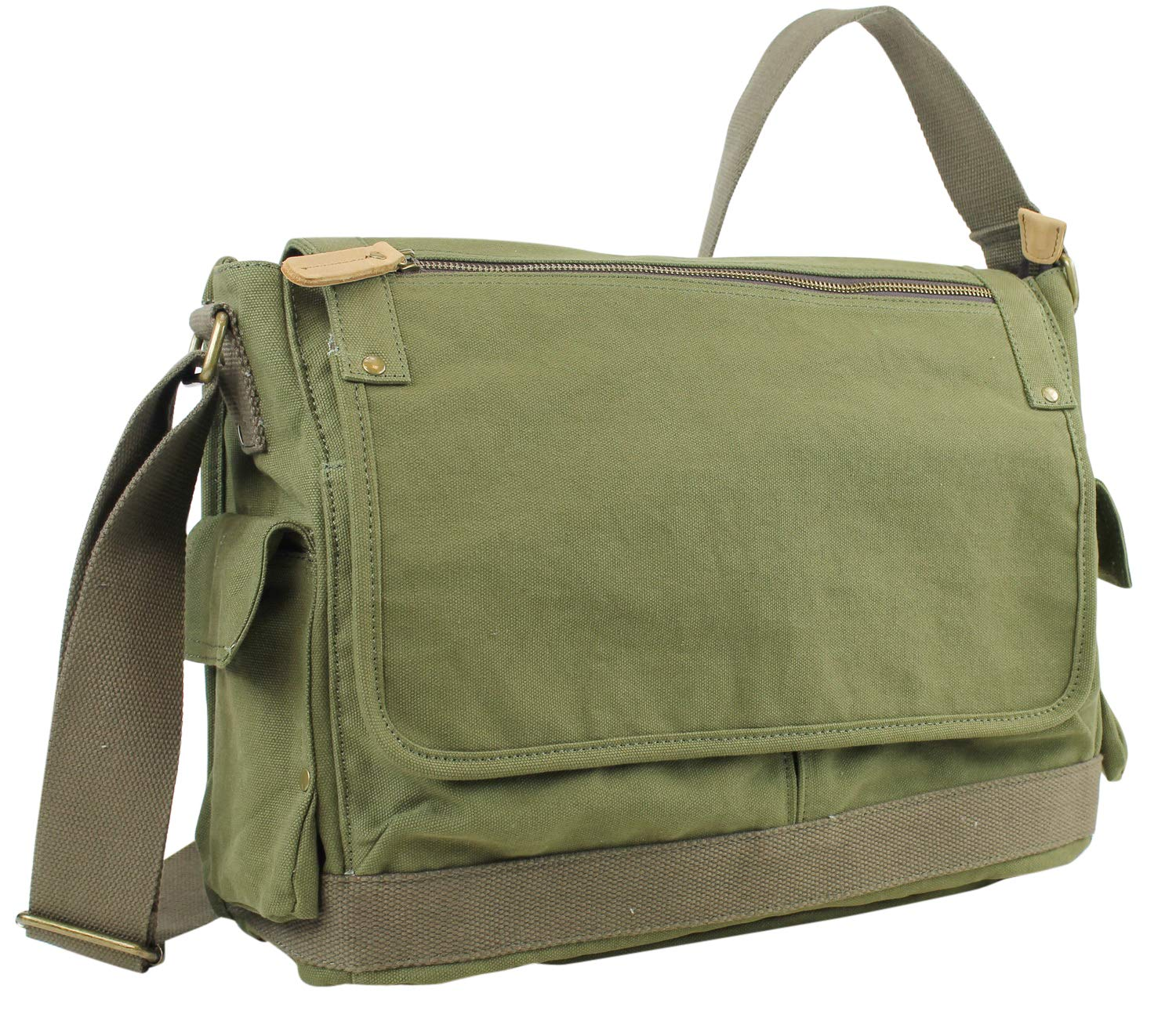 Vagabond Traveler 15 Casual Style Canvas Laptop Messenger Bag C31L.GRN