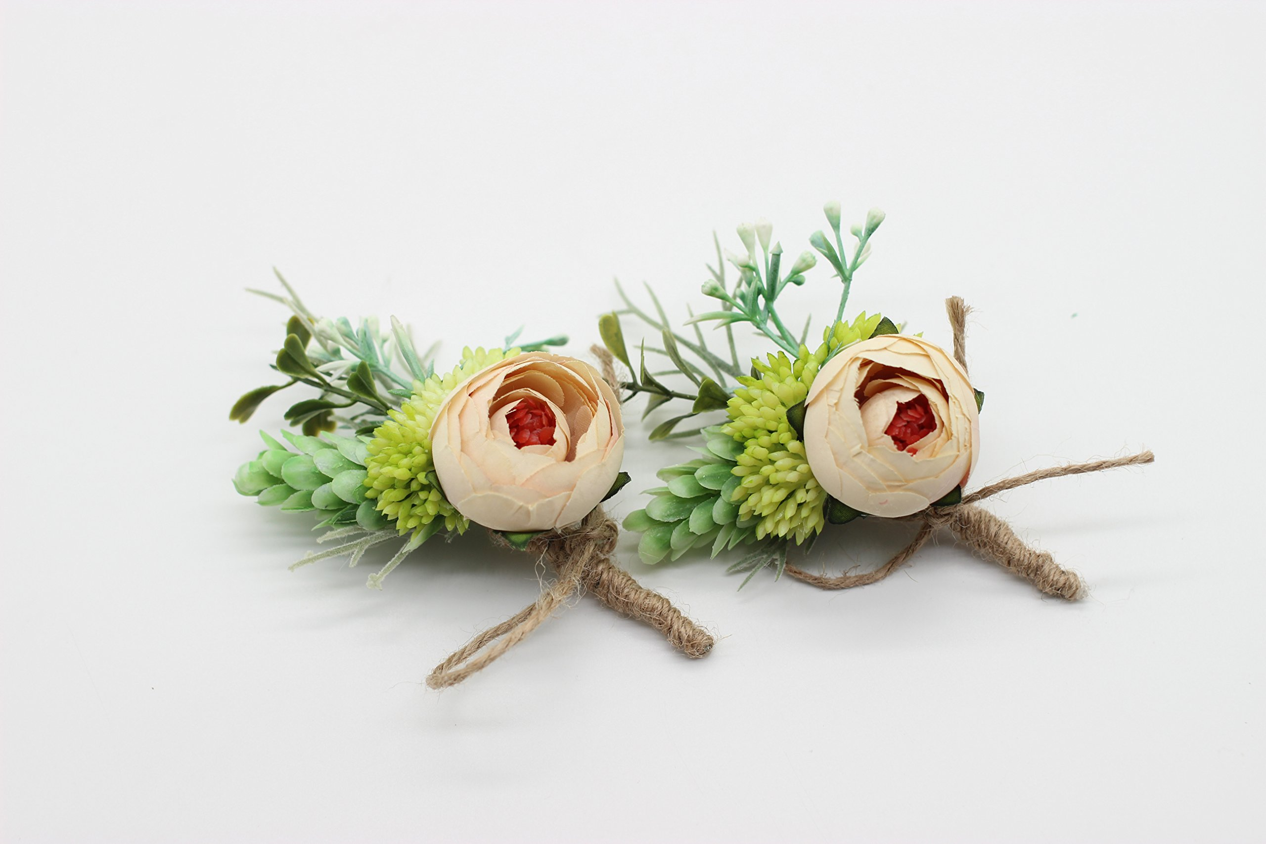 Yokoke-Artificial-Peony-Silk-Flower-Boutonniere-Bouquet-Corsage-Wristlet-Vintage-Fake-Succulent-Plants-Pink-Peach-For-Wedding-Decor-2-Pcs