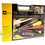 AA Car Essentials 70 Piece Screw Driver and Accessory Tool Kit for Cars, Motor Bikes UK