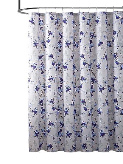 Hudson Essex Elegant Purple Blue Beige Fabric Shower Curtain Watercolor Floral Print Nature Design