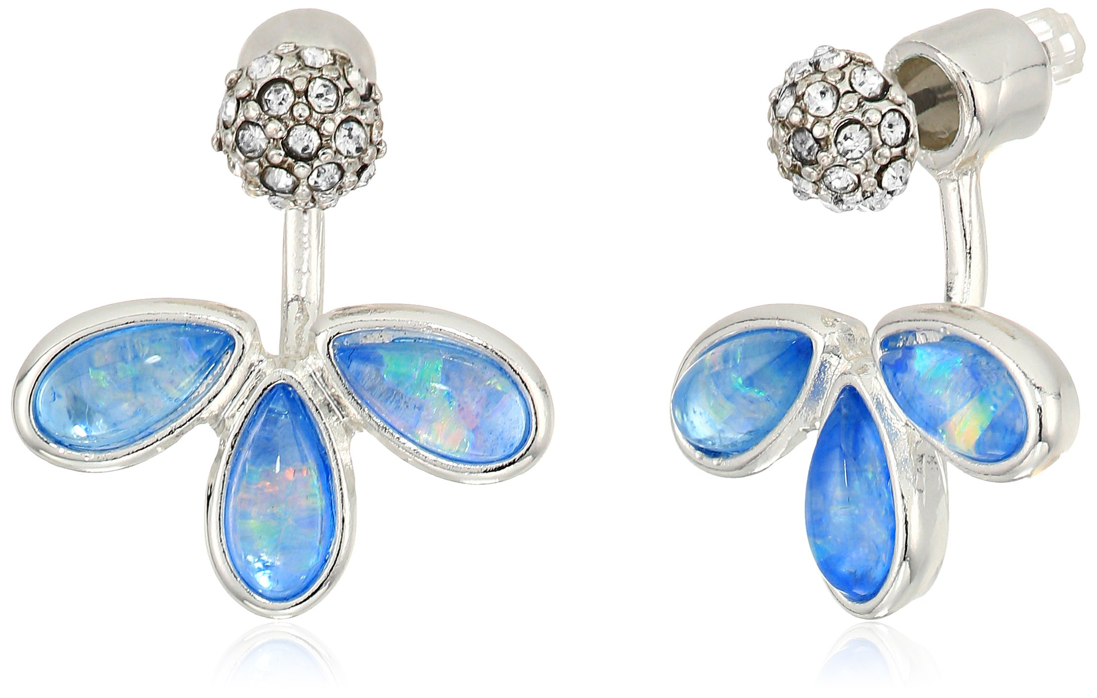 Kenneth Cole New York Power Of The Flower Crystal and Opal Front Back Earrings Jacket