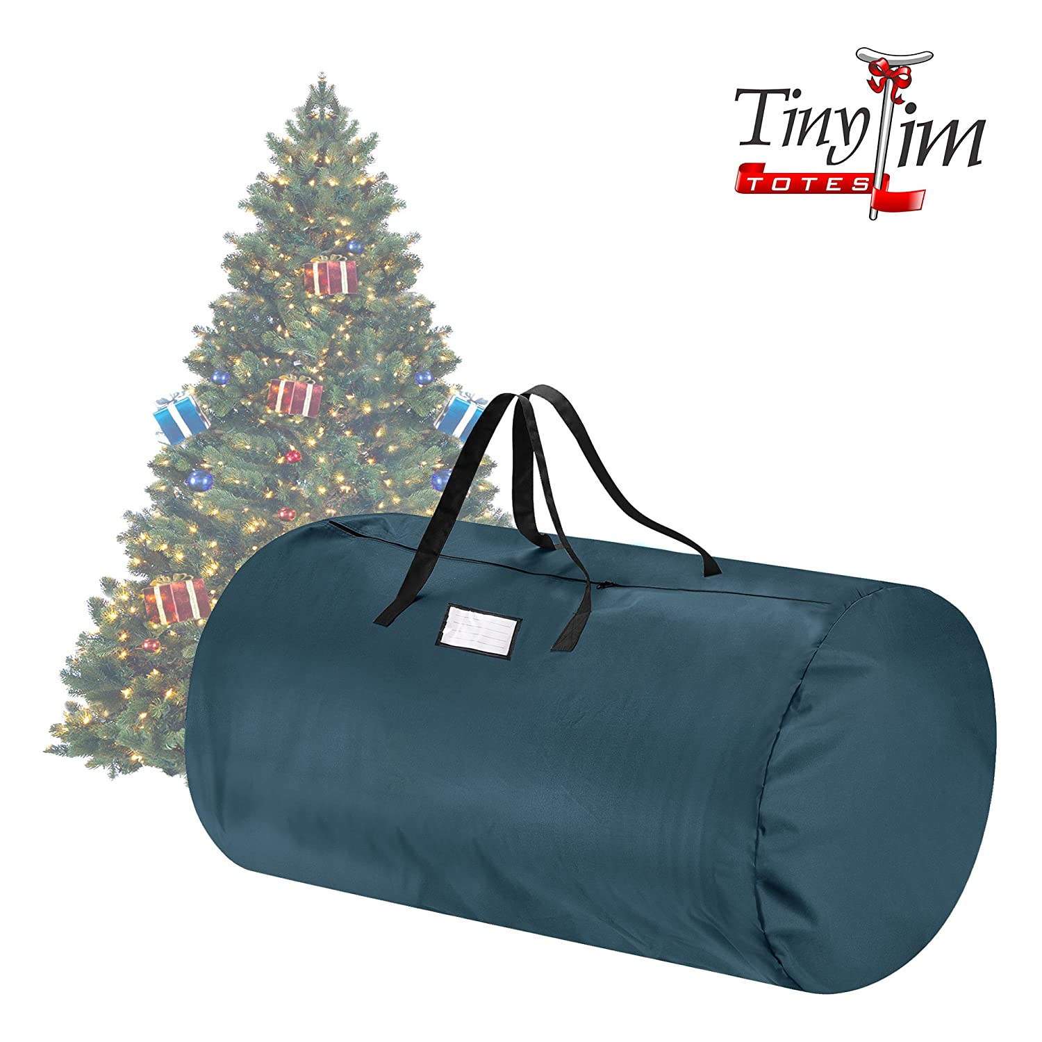 amazoncom tiny tim totes 83 dt5564 premium canvas christmas storage bag extra large for 12 foot tree green home kitchen - Christmas Tree Bags Amazon