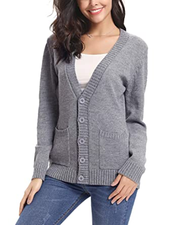 4da0771418ec37 Abollria Women Cardigans Open Front Button Down Chunky Cable Knit Cardigan  Sweaters Coat Pockets