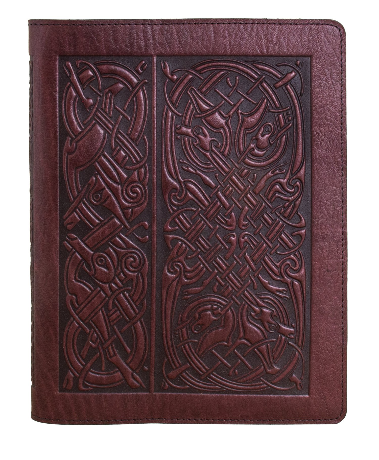 Genuine Leather Composition Notebook Cover with Insert, 8.25x10.25 Inches, Celtic Hounds, Wine Color, Made in the USA by Oberon Design by Oberon Design