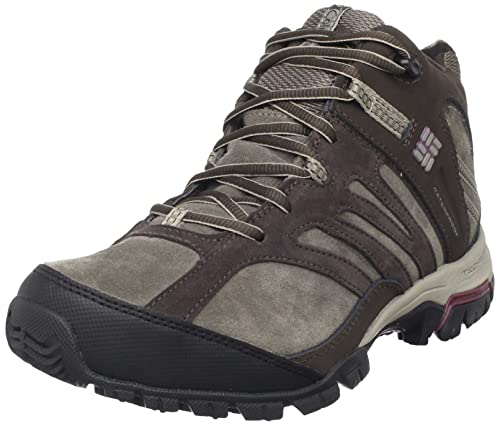 Columbia Womens Shasta Ridge Mid Omni-Tech Lea Trail Shoe,Bungee Cord/ Plum