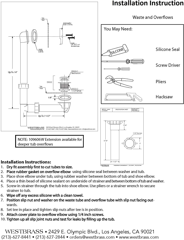 Westbrass 593244-12 Bath Waste Drain Kit, 1-Pack, Oil Rubbed Bronze - Freestanding Bathtubs -
