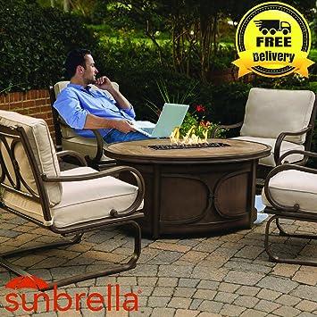 Kendall 5 Pc Outdoor Feuerstelle Set (4 Stühle U0026 Gas Feuerstelle Tisch)