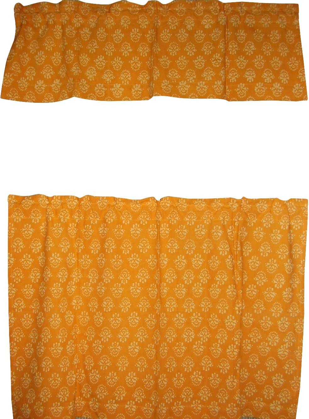 Full Moon Loom Cafe Curtain with Valance Block Print Cotton 44 x 30 Saffron