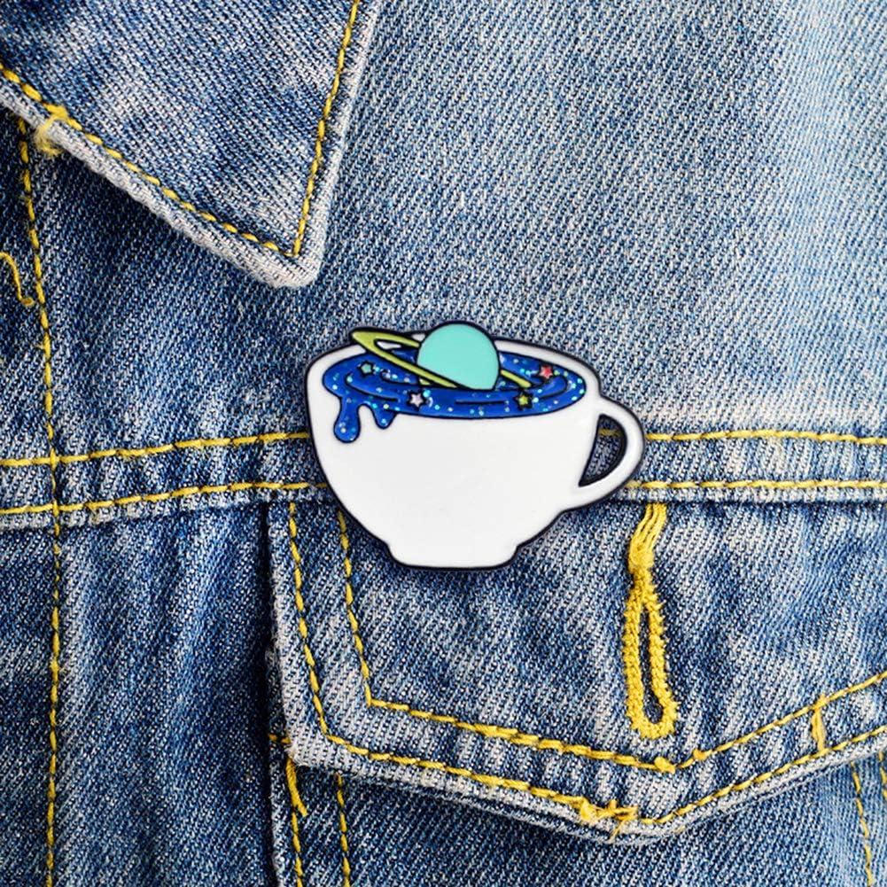 yongqxxkj Broche Pin Creative Unisexe de lespace de la Tasse de Caf/é /Émail Broche Bag Pin Cap Veste Badge Jewelry Blanc