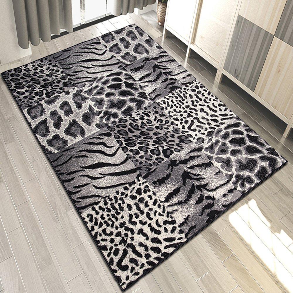 Carpeto Teppich Tiermuster Karo Patchwork Schwarz Animal Safari Tierfell - ÖKO Tex (200 x 300 cm)