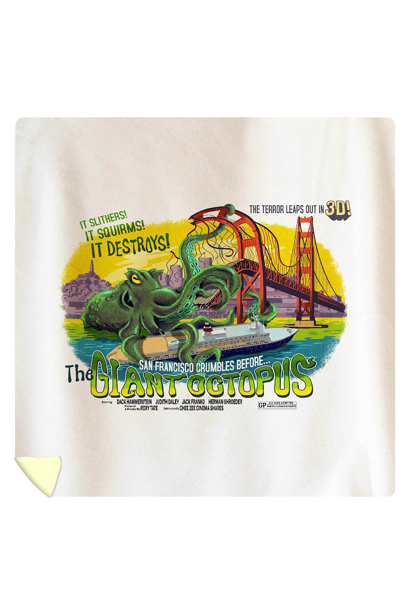 San Francisco, California - The Giant Octopus - B Movie Poster (88x88 Queen Microfiber Duvet Cover)