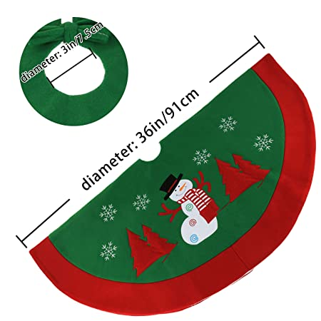 8a437a8e61a Amazon.com  WEWILL 36   Classic Christmas Tree Skirt Green Felt Red Border  Thick Embroidered Snowman Snowflake Vintage Xmas Tree Skirt Double Layers  Holiday ...