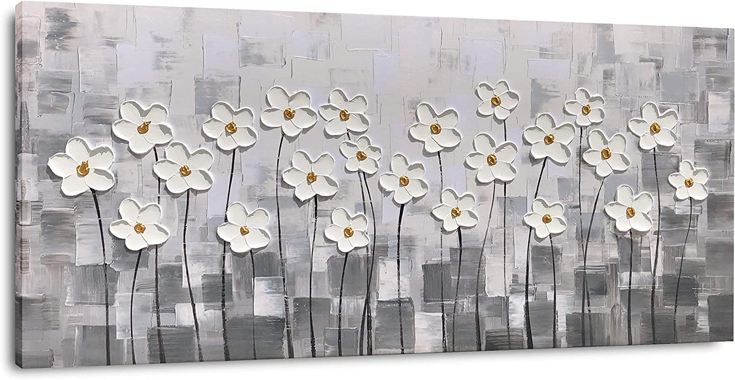 Yihui Arts Canvas Wall Art White Flowers Pictures Bloosom Modern Floral Pallet Knife Painting Prints Framed for Bedroom Kitchen Dinning Room Living Room Office Home Decor (20Wx40L)