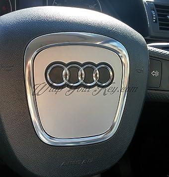 Alamor Aluminium Alloy Car Steering Wheel Sticker Body Emblem Trim For Audi A3//A4//A5//Q5//Q7