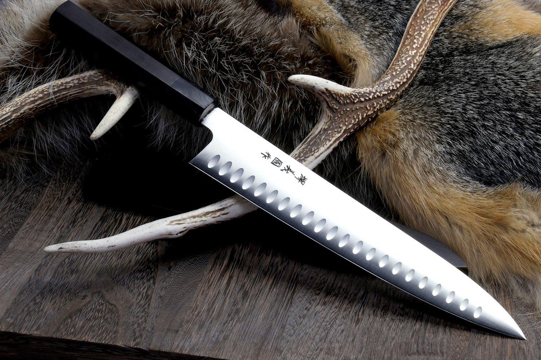 Yoshihiro VG-1 SC Double Sided Hollow Ground Wa Gyuto Japanese Chef's Knife Ebony Handle Yoshikuni Series 9.5''(240mm)