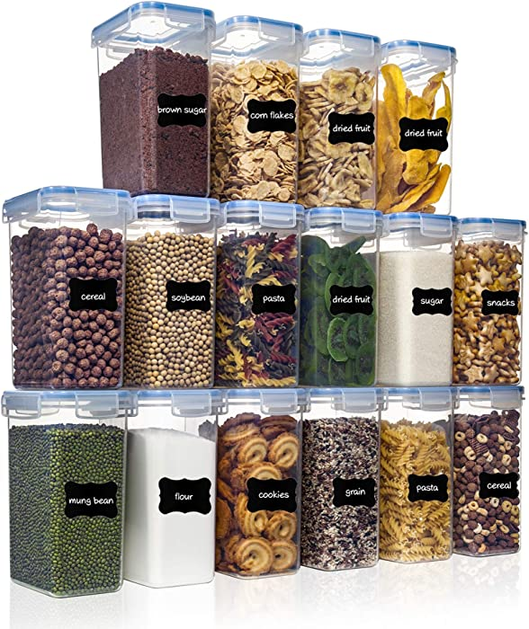 Airtight Food Storage Containers with Lids 16pcs Set 2L/1.8qt, PantryStar Air Tight Flour Sugar and Cereal Containers, Kitchen Pantry Organization, Ideal for Dry Food and Baking Supplies