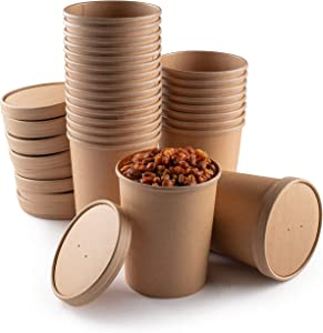 Compostable Soup Containers with Lids 32 Ounce Disposable Eco Friendly PLA to-Go Cups with Vented Lids Perfect for Soup, Chile Steamed Veggies or Ice Cream - 25 Bowls