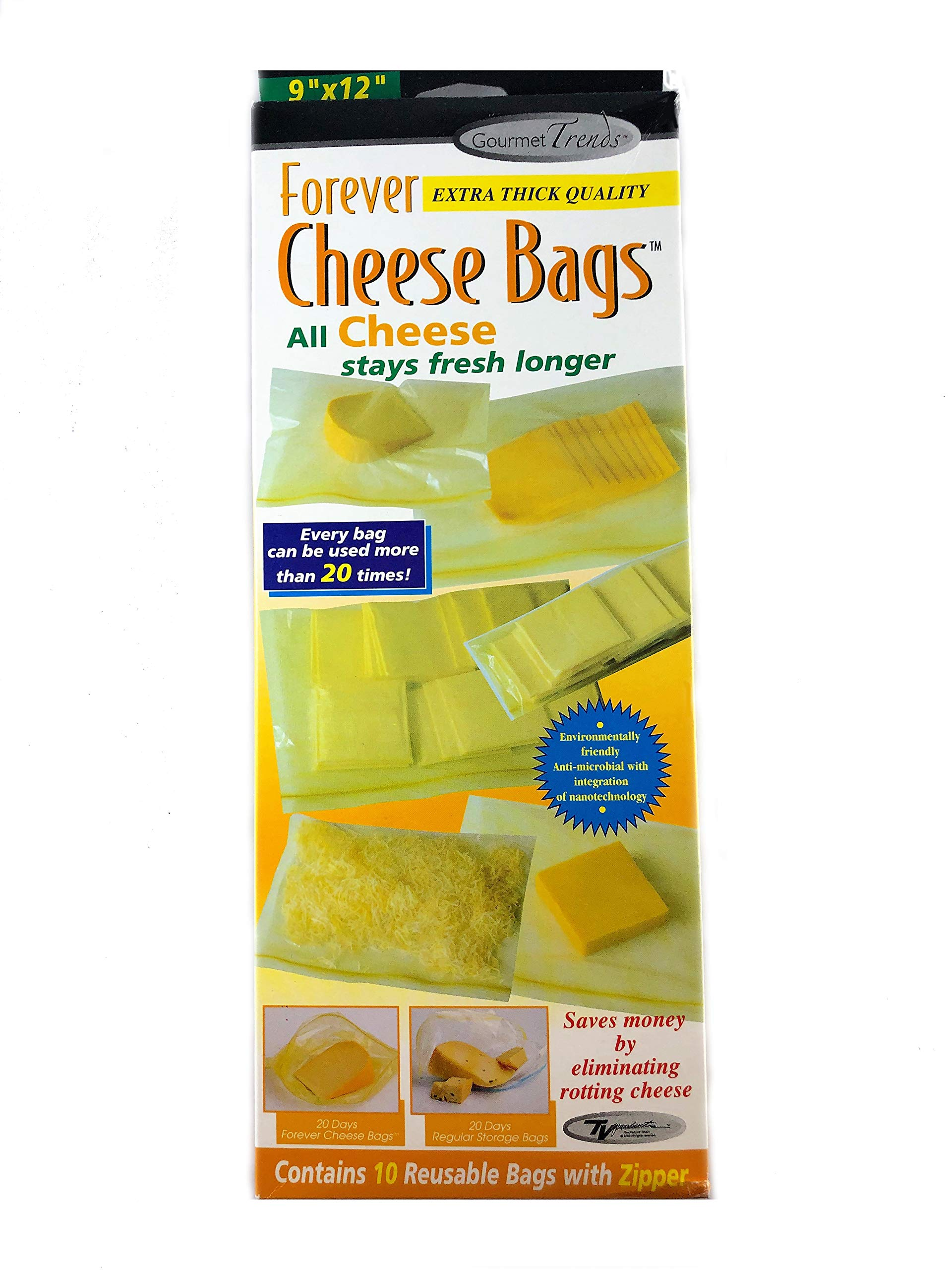 Forever Thick Reusable Antimicrobial Cheese Bags with a Zipper (10-Pack), Measures 9'' x 12''