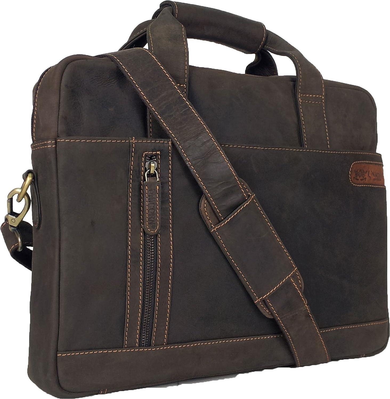 UNICORN (ユニコーン) レアルレザーブラウン16.4インチのノートパソコンネットブックウルトラブックメッセンジャーバッグ Real Leather Laptop Messenger Bag Brown #9E   B009DKNYPG