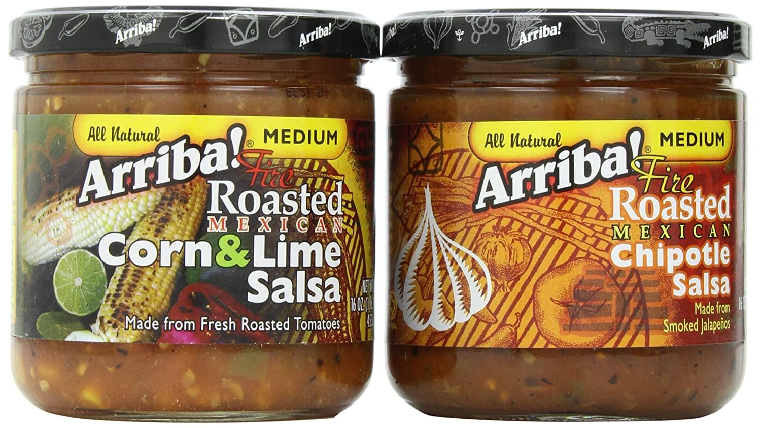 Amazon.com: Arriba! Chipotle Salsa and Corn & Lime Salsa Combo Pack, 16 Ounce Jars (Pack of 4)