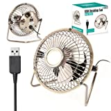 "Twitfish Vintage Art Deco USB Desk Fan (4"")"