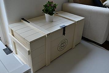 """Woodboox Caja de Madera Mercancías Caja Baúl Mesa Shabby Vintage Rústico""""Route 66 Ancho"""