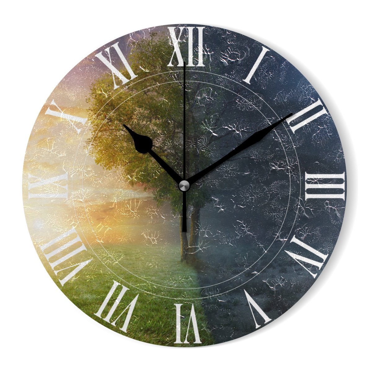 WellLee Night Day Landscape Life Tree Clock Acrylic Painted Silent Non-Ticking Round Wall Clock Home Art Bedroom Living Dorm Room Decoration by WellLee (Image #3)