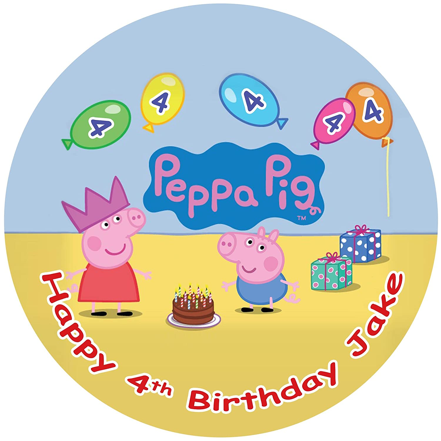 "Peppa Pig And Family Personalised Cake Topper 7.5/"" Edible Wafer Paper Birthday/'s"