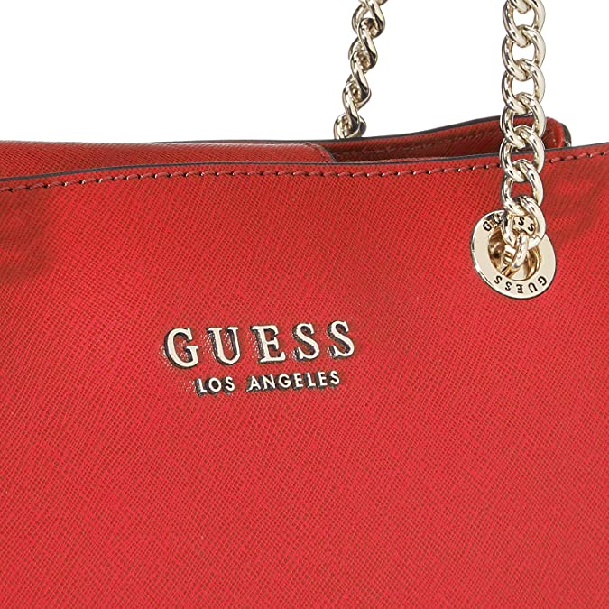 Guess Damen Robyn Girlfriend Satchel Henkeltasche, rot, 12x22x32 centimeters