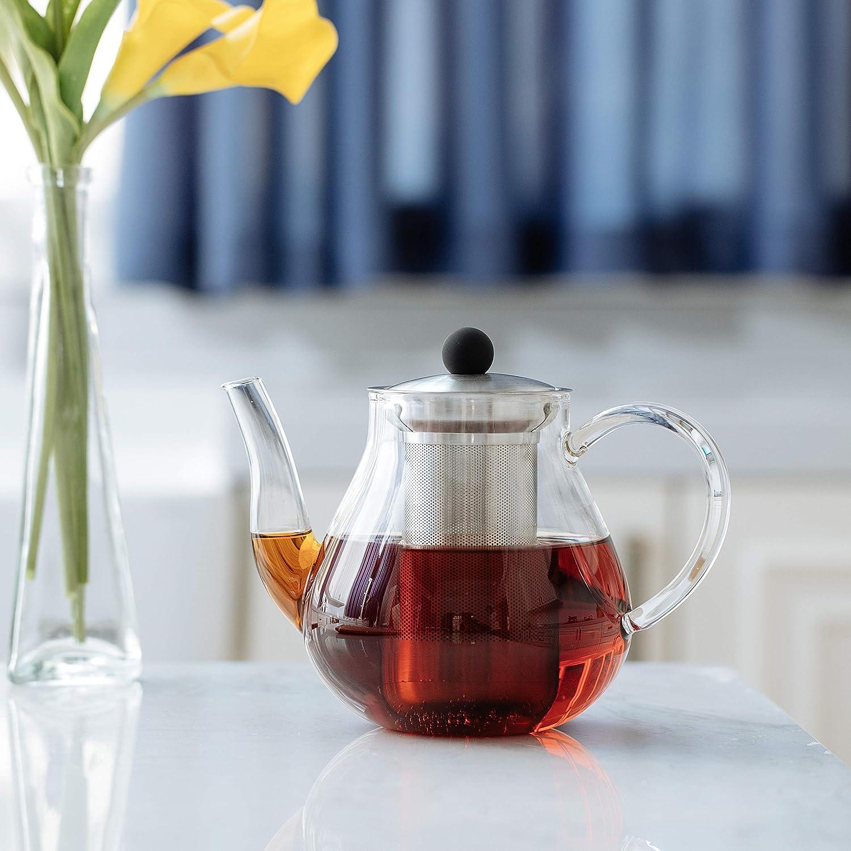 Stovetop Safe Tea Kettle Glass Teapot with Removable Infuser BTaT 32oz, 1000ml Blooming and Loose Leaf Tea Maker Set