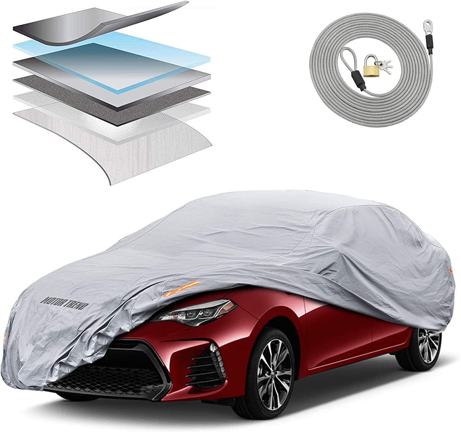 Motor Trend OC743 7-Series Ultra Protect Outdoor Car Cover Custom Fit for Toyota Corolla 2000-2018 Tight Seal Waterproof All Weather