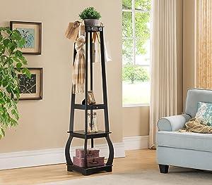 Kings Brand Furniture Entryway Coat Rack with Storage Shelves & Drawer, Black