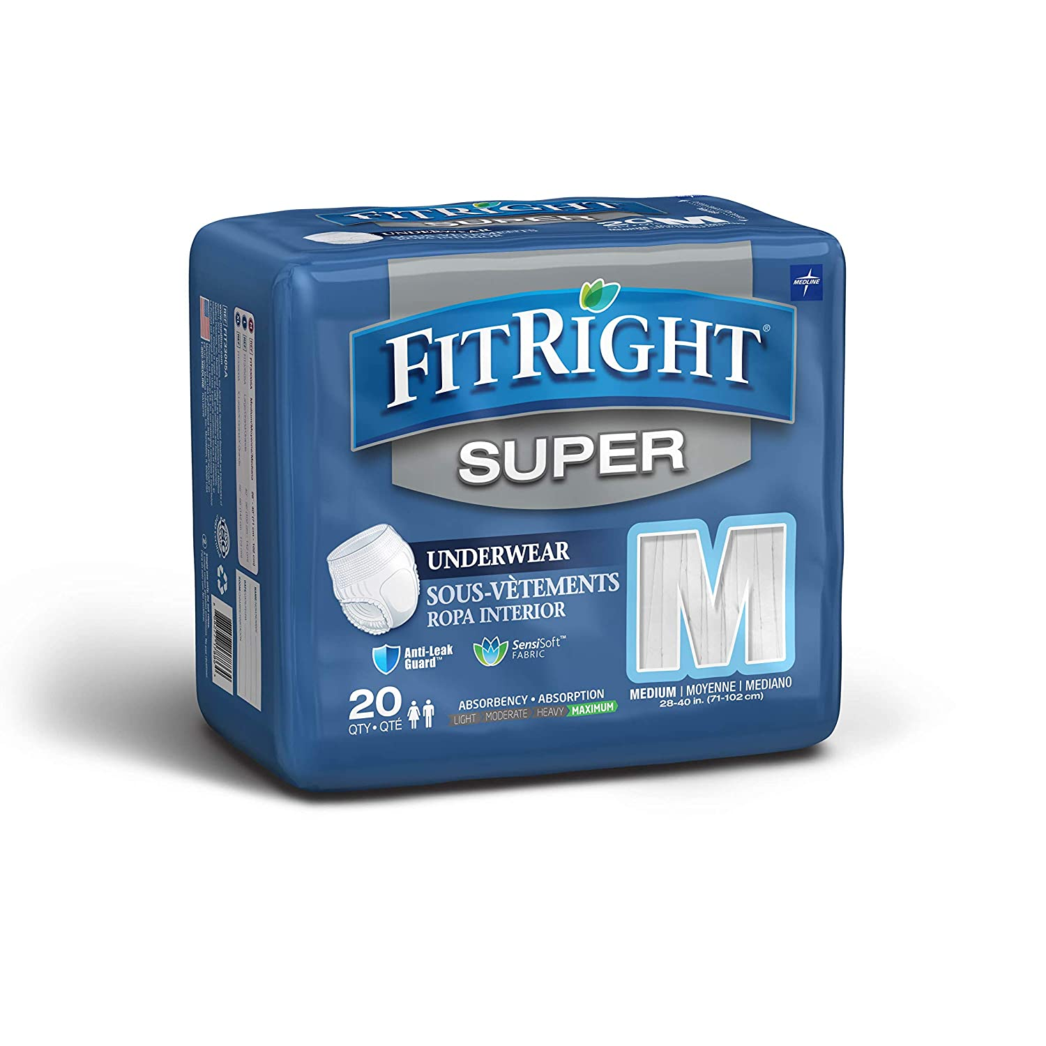 Fitright Super Adult Incontinence Underwear Maximum Underpad Sensi Absorbency Medium 28 40 4 Packs Of 20 80 Total Industrial Scientific
