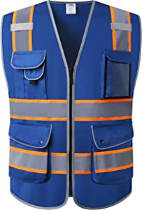 JKSafety 9 Pockets High Visibility Zipper Front Safety Vest | Blue with Dual Tone High Reflective Strips | Meets ANSI/ISEA Standards (Blue Orange Strips, Medium)