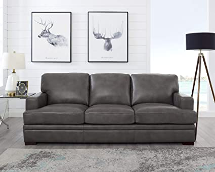Amazon Com Used Sofas Couches Living Room Furniture >> Amazon Com Hydeline Metro 100 Leather Sofa Chatham Grey