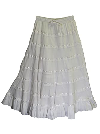 7ad9bf3b9b Yoga Trendz Women's Bohemian Ruffled Tiered Indian Cotton Lace Long Skirt  White at Amazon Women's Clothing store: