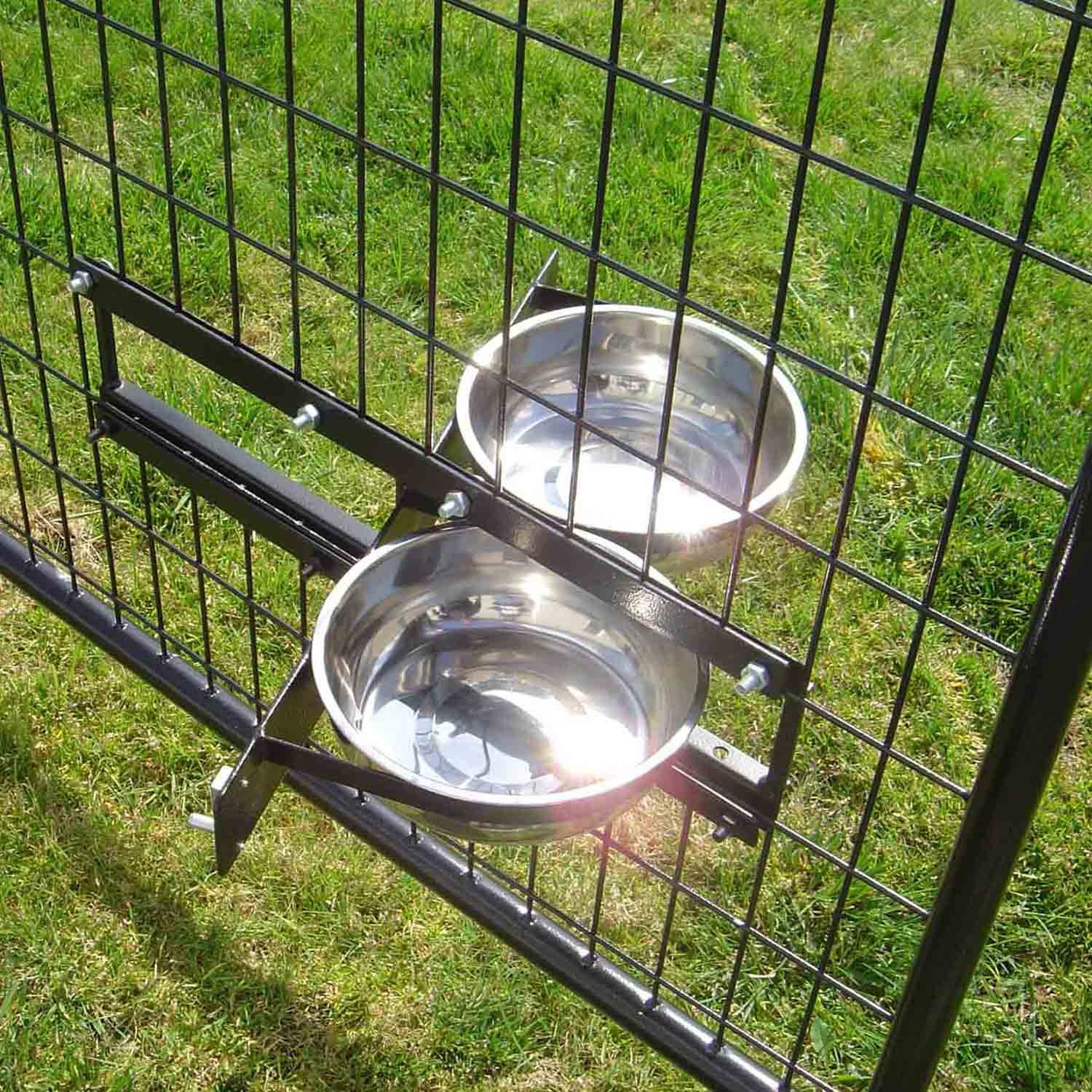 Lucky Dog Stainless Steel Double Rotating Food & Water Pet Bowls (21in. x 8in. X 5in.)