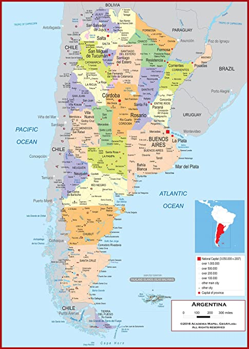 Amazon.com : Academia Maps - Wall Map of Argentina - Fully ...