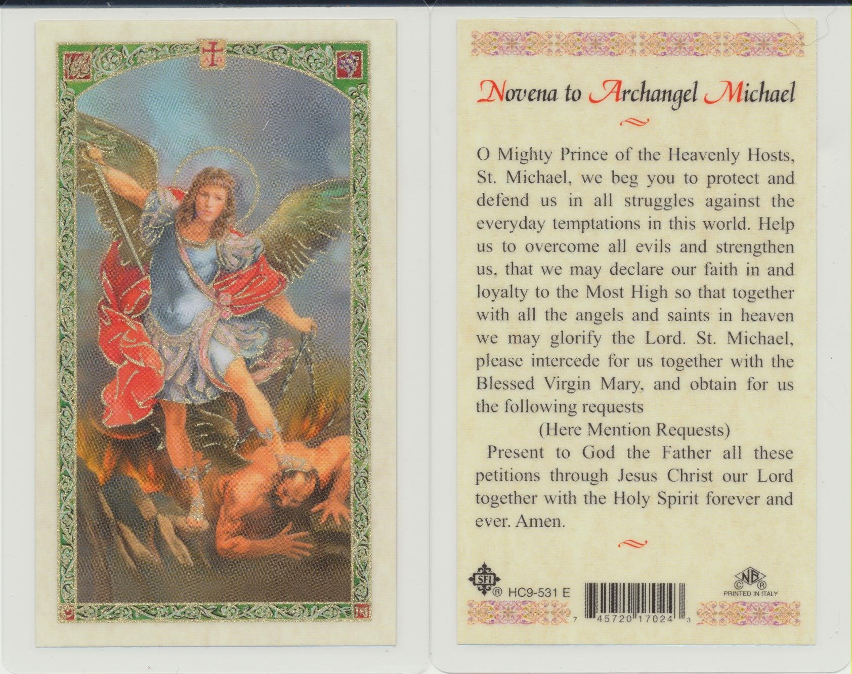 St Saint Michael the Archangel Holy Card Novena Patron of Police and Military