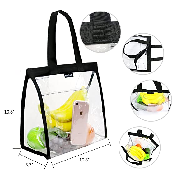 Amazon.com: Bolsas transparentes con bolsillo frontal y asas ...