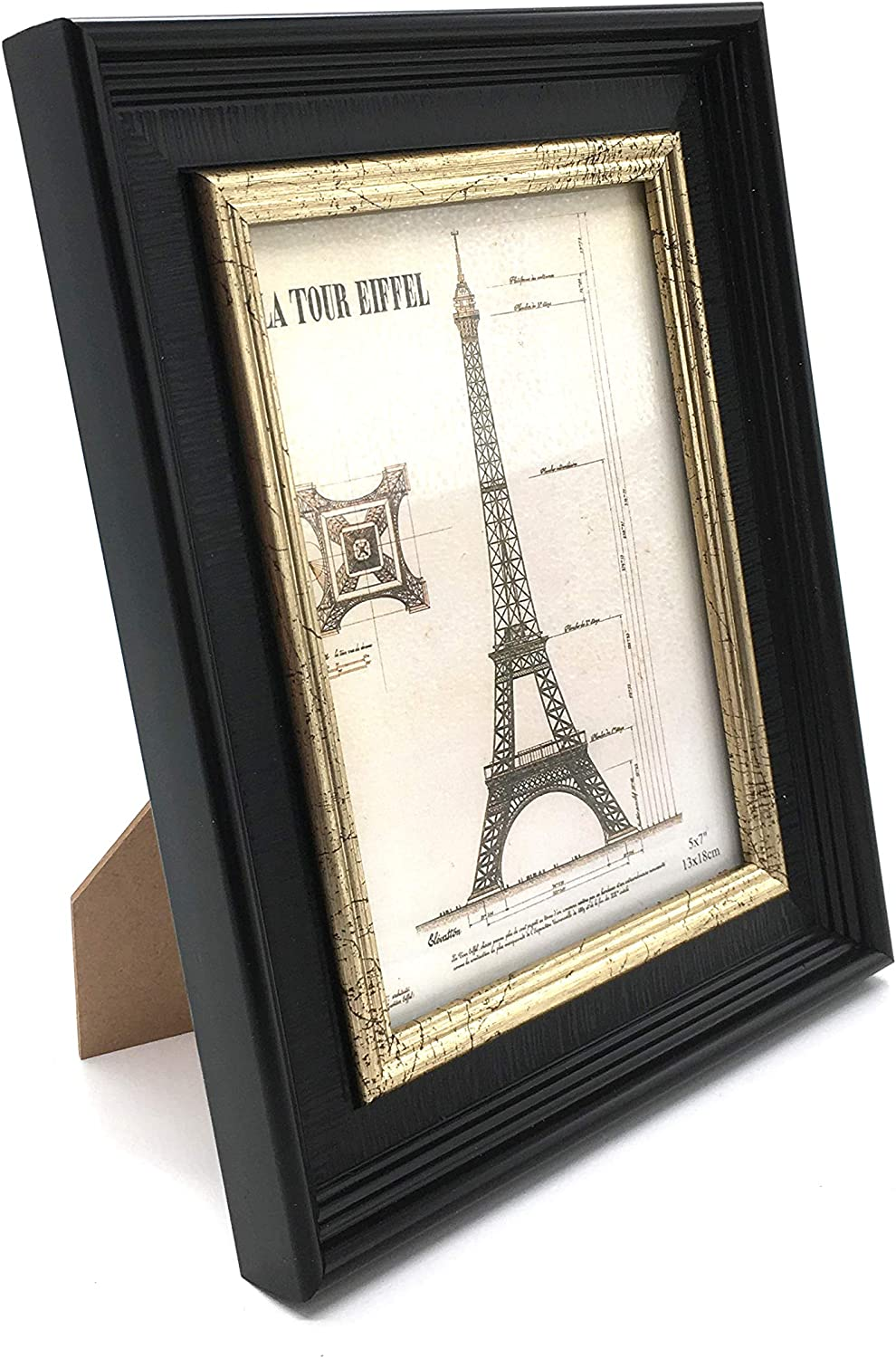 allgala 3-Pack Wood Imitation Desktop Photo Frames with Glass Face - 5X7 Inch - Black Gold Trim Style - HD61055